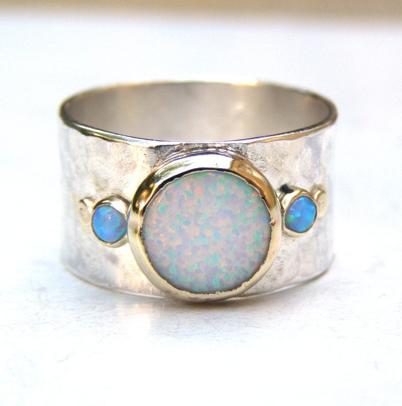 unique engagement ring opal ring gold and silver hammered