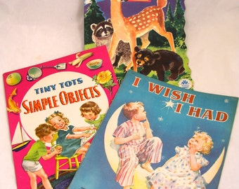 LOT 3 Vintage 1940s Children's Illustrated Picture Books  - Free USA Shipping