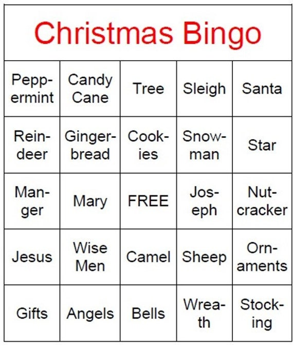 Christmas Bingo Game Instant Download Printable