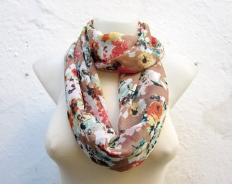 Floral Scarf, infinity  Scarves, Loop scarf, Chiffon Necklace scarf, Foulard, Flower Circle Accessories, Tube Neckwarmer, Red Green Brown
