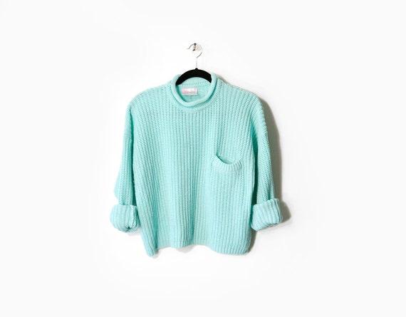 Slouchy 80s Crop Top Sweater in Aqua - m/l