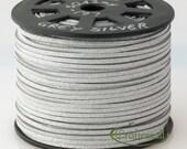 Faux suede cord 3mm wide - grey silver - 3 meters