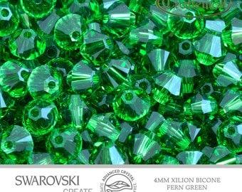 12 Swarovski 4mm Bicone - Fern Green 5328 291 Advance Crystal Xilion Bicone