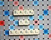 Scrabble it. Back to school. Vintage mini French scrabble letter word.