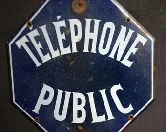 Public phone. Vintage French enamel plate.