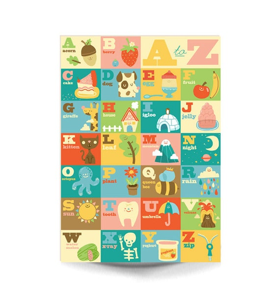 A3 Art Print - 'My A to Z' - Cute Happy Art / Nursery Art / Playroom Print