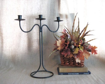 Tall Black Candle Holder  / Metal 3 Arm Candelabra in Shabby Goth