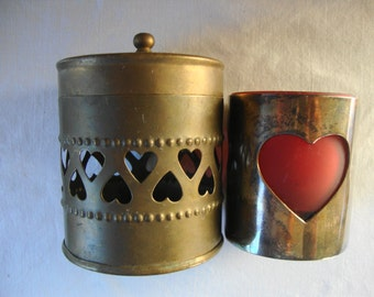 VINTAGE BRASS REDHEART Cut Out Heart Covered Container & Red Heart Candle Holder 5 Piece Brass Red Glass Brass Heart Box Red Heart Luminary