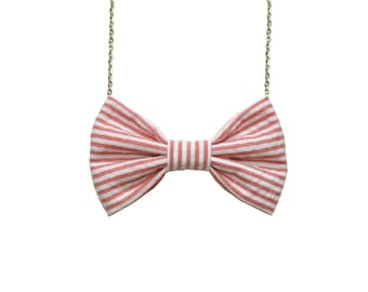 Coral Stripes Bow Tie Necklace, Women Casual Bowtie in Coral Pink, Classic Accessory