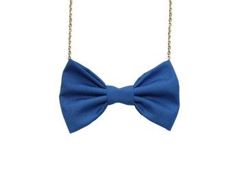 Skipper Blue Bow Tie Necklace, Casual Women Bowtie, Cotton Dazzling Blue Bow Tie Back to School