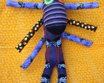 OOAK handmade recycled stuffed animal halloween spider