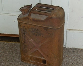 Vintage Antique Rusty Old Gas or Fuel Can canister Collecitble item Garage shop autobody man cave gift for him rustic primitive antique