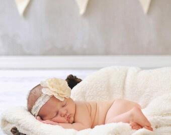 Ivory Headband - Cream Flower Headband - Newborn Photo Prop - Dusty Rose Silk Flower Headband - Baby Headband