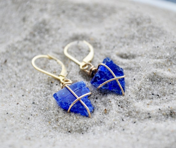 Cobalt Blue Seaglass Earrings with Vermeil Lever Back Earrings