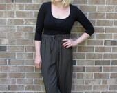 Striped Culottes, Baggy Pants, Drawstring Pants, Comfy Pants, Black & Ivory