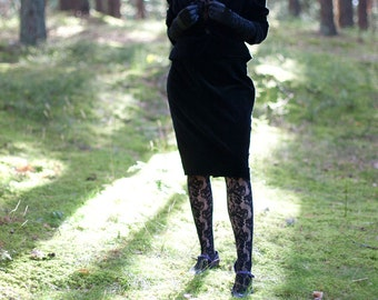 Black Velvet Bombshell 1980ies suit - soft velvet bolero Jacket and midi Skirt size M L