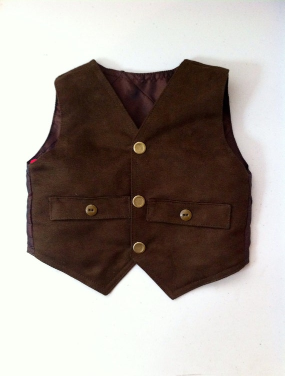 Items similar to Baby Boys Suede Vest, Rustic Baby ...