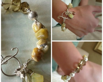 Chunky Yellow Opal and Lemon Quartz Bracelet with Fine Sterling Silver Flower Charm