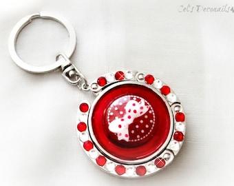 Pinup girl polka dot keychain, handmade gift, red white bag hanger, bag charm