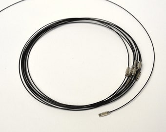 10 stainless steel wire necklace black 16 1/2 inches long