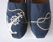 Custom Painted TOMS Shoes - Navy Anchor and Rope Heart - Adult - ibleedheART