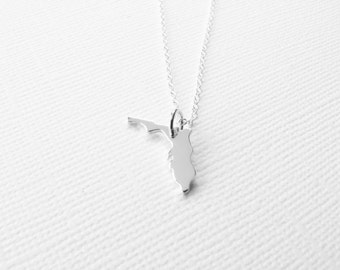 Tiny state necklace state charm sterling silver