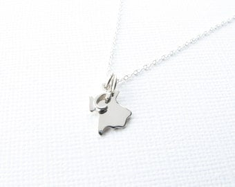Tiny state necklace state charm sterling silver initial charm