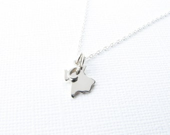 Personalized Tiny State Charm Necklace with Initial Custom Sterling Silver Necklace for BFF Best Friend Bridesmaids Gift for Women Under 25