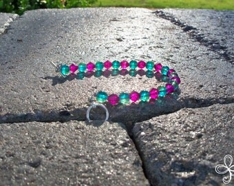 Turquoise and Pink Glass Bracelet