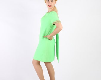 Dress Vintage 1960s 60s Bright GREEN  Mini MOD Cocktail Back Drape S Small