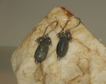 Charming Labradorite Earrings with Brushed Silver Ear Wires