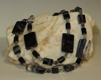 Agate, Snowflake Obsidian, Reticulated Quartz and Bali Silver Necklace