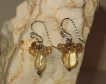 Citrine and Crystal Earrings