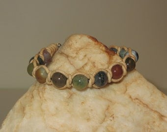 Spanish Knot (Snake Weave) Natural Leather Cord Bracelet with Fancy Jasper Beads and Pewter S Hook