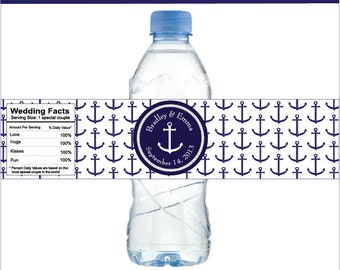Nautical Water Bottle Labels with Anchor,  for Nautical Weddings, graduations, bridal Showers, baby showers, Birthdays