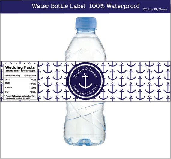 Water Bottle Name Tags: Nautical Water Bottle Labels With Anchor For Nautical