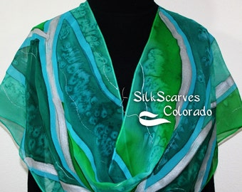 Hand Painted Silk Scarf in Emerald Green, Teal EMERALD TREASURE, by Silk Scarves Colorado. LARGE 14x72. Birthday Gift, Anniversary Gift