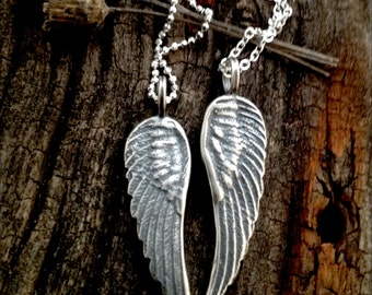 Sterling Silver Angel Wing Pendant Handmade Jewelry Supply and Jewelry Findings