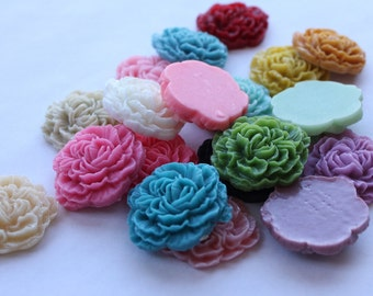 LARGE CARNATION Cabochons - Lot of 12 - 35mm - CHOOSE Your Colors