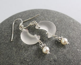 Crescent Moon Pearl Earrings, Moon Earrings, Sterling Silver Earrings, Gemstone Earrings, Pearl Earrings, White Pearl Dangle Earrings,