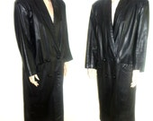Vintage 1980's coat leather double breasted trench black full length slouchy M / L