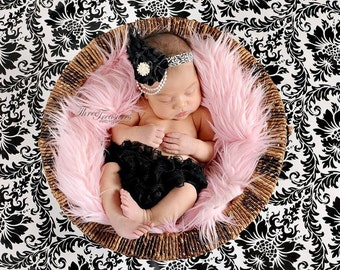 Satin black flower headband,damask headband,black baby,pearl headband,newborn headband,photo prop,any size,feather headband
