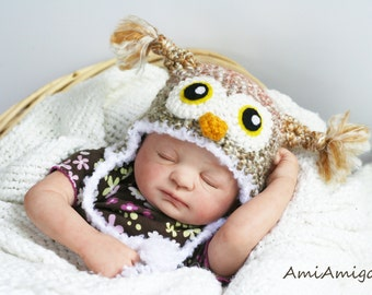 Crochet Multi-color Owl Hat (Newborn - Orange/Green/Tan)