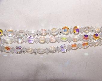 Vintage  Aurora Borealis Crystal Bracelet 3 Strand