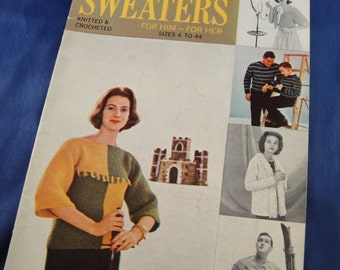 Sweaters Knit and Crochet Pattern Booklet No. 160 American Thread Co. Him and Her