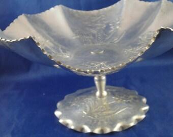 Aluminum Bowl on Pedestal Rose Design Ruffled Scalloped