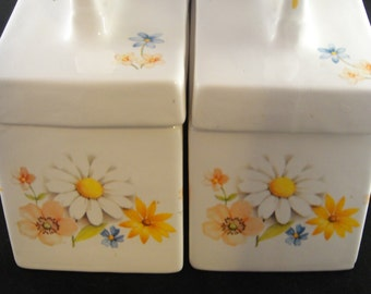 Floral Canister Set of Two Ceramic Marked 184-T