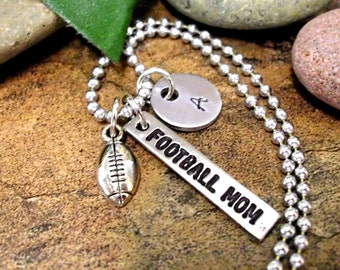 Football Mom Jewelry, Personalized Jewelry, Sports Jewelry, Football Jewelry, Hand Stamped Football Jewelry