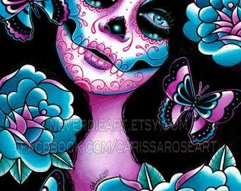 Sugar Skull Girl Signed Art Print - Memento Art Print  - 5x7, 8x10, or 11x14 - Day of the Dead Sugar Skull Girl Tattoo Flash