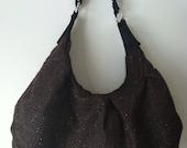 Large brown handbag, diaper bag, hobo bag, brown purse, tweed shoulder bag